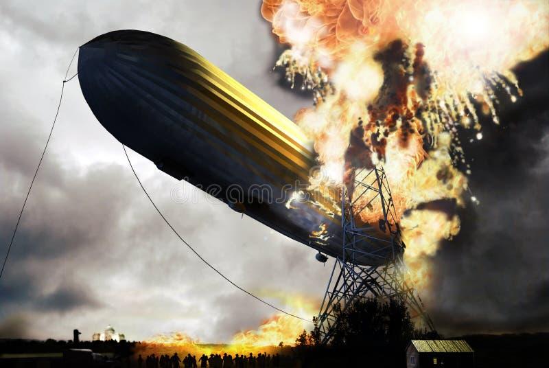 Désastre de zeppelin illustration de vecteur