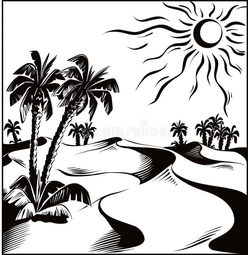 Désert africain sous le soleil d'un rouge ardent illustration de vecteur