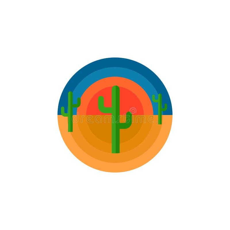 Désert de cactus et copie de T-shirt d'emblème du soleil ou illustration ronde de vecteur de typographie de conception d'autocoll illustration libre de droits