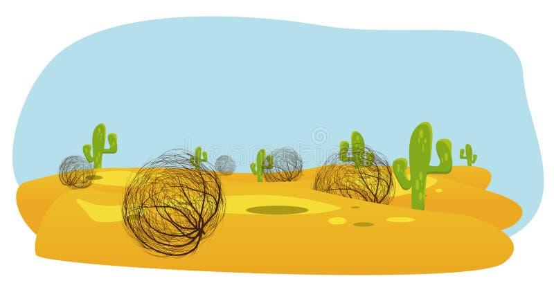 désert de cactus et d'amarante illustration de vecteur