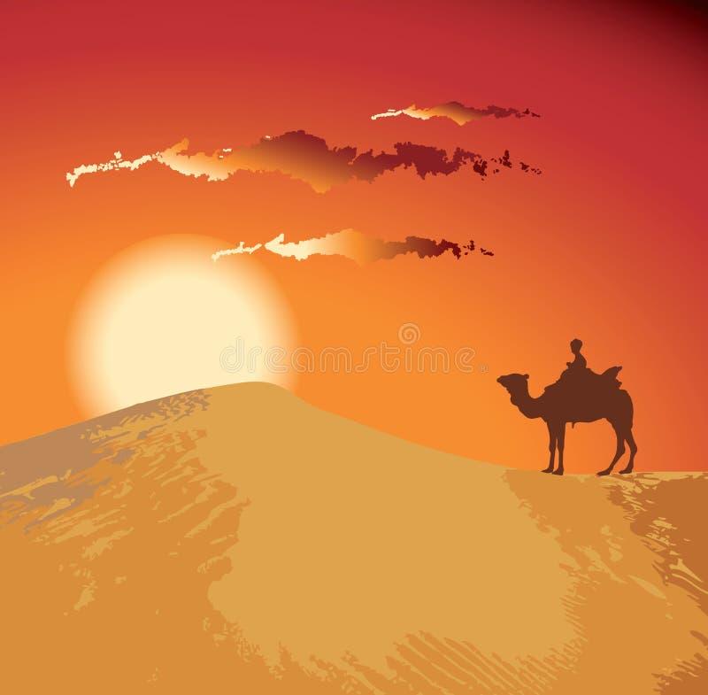 Désert de coucher du soleil illustration de vecteur