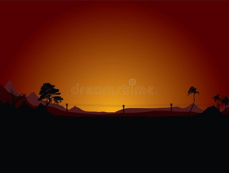 Désert de coucher du soleil illustration libre de droits