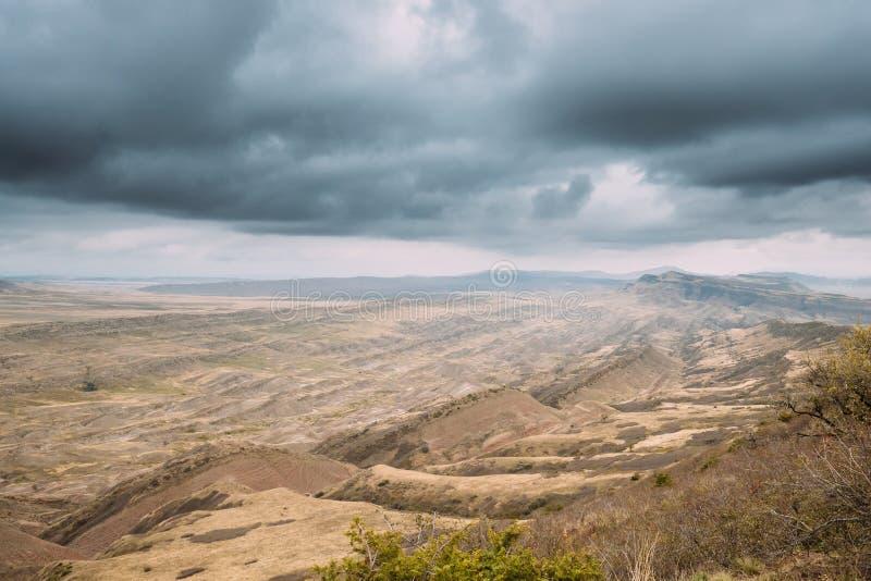 Désert de Gareja, région de Kakheti, la Géorgie Autumn Landscape Near Sagarejo Municipality, photo stock