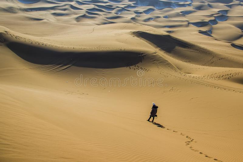 Désert de Kumtag, le Xinjiang, neigeant photographie stock