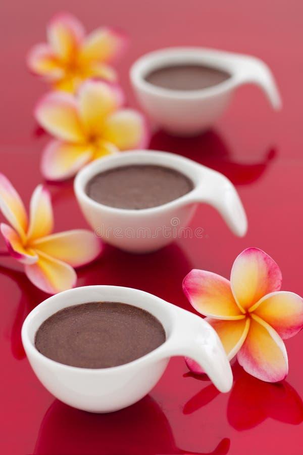 Désert de mousse de chocolat sur le fond rouge photos stock