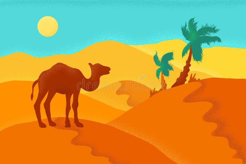 Désert de sable avec le chameau illustration libre de droits