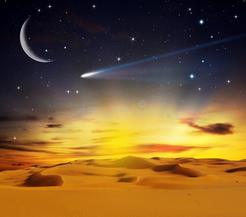 Désert de Sandy au temps de coucher du soleil image libre de droits
