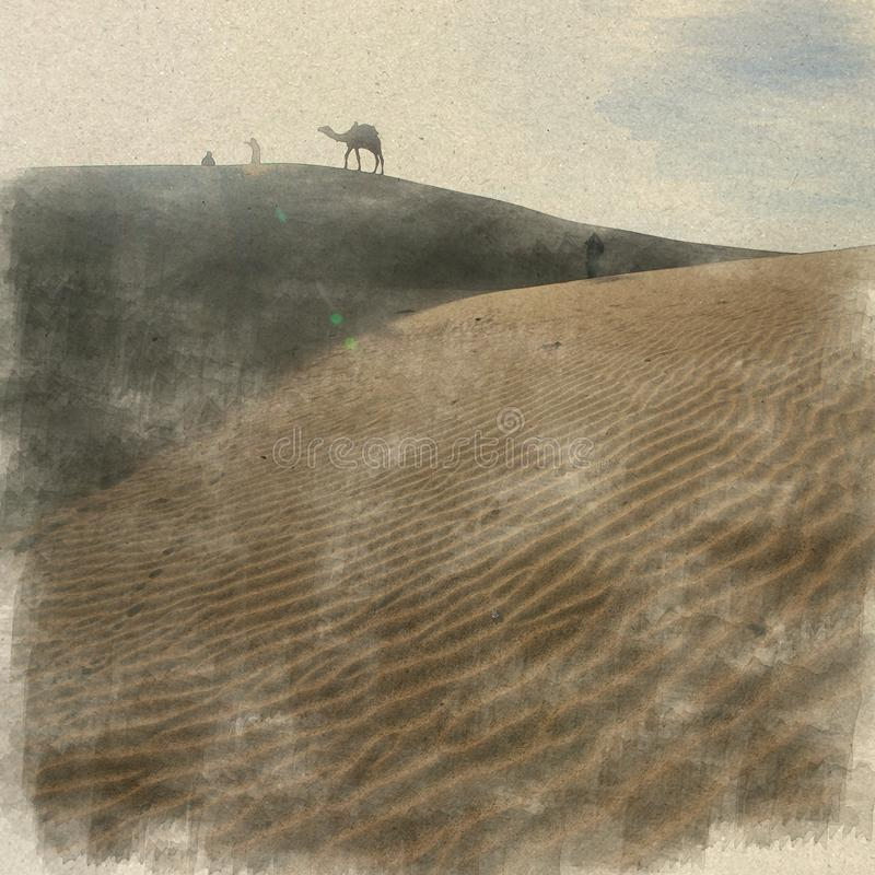 désert, Inde L'aquarelle d'art de Digital sur le papier de vintage a créé b illustration libre de droits