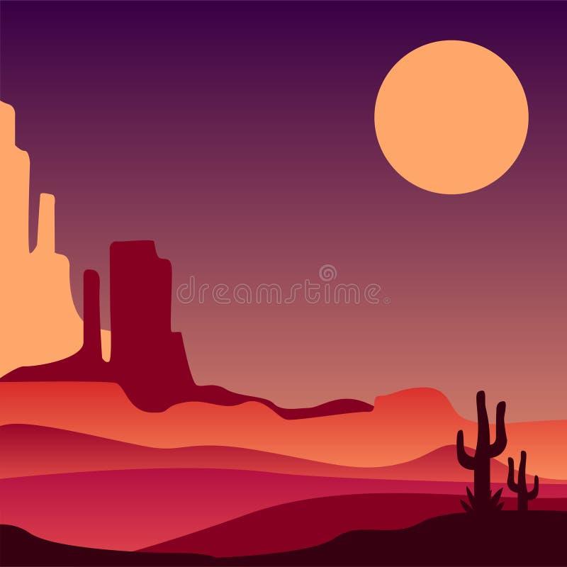 Désert pierreux de l'Arizona avec des silhouettes des cactus Paysage naturel de l'Amérique du Nord Conception de vecteur pour l'a illustration libre de droits