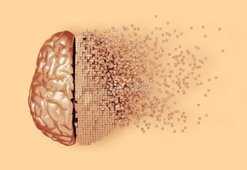 Désintégration de Digital Brain On Peach Background illustration de vecteur