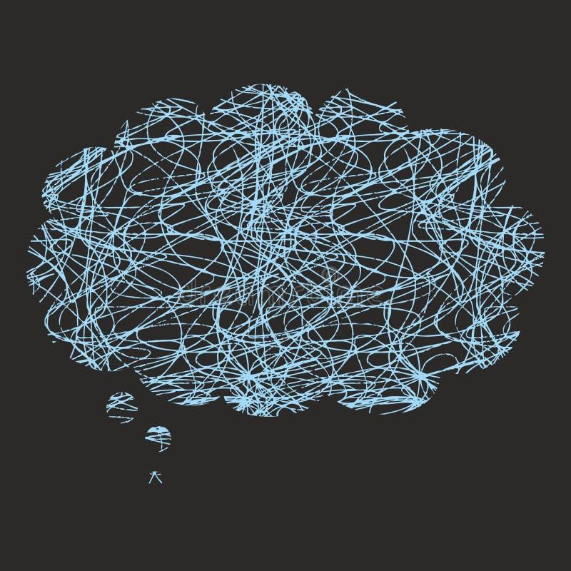 Désordre à l'esprit ou illustration de pensée de vecteur de concept avec le chaos dans la parole de bulle illustration stock
