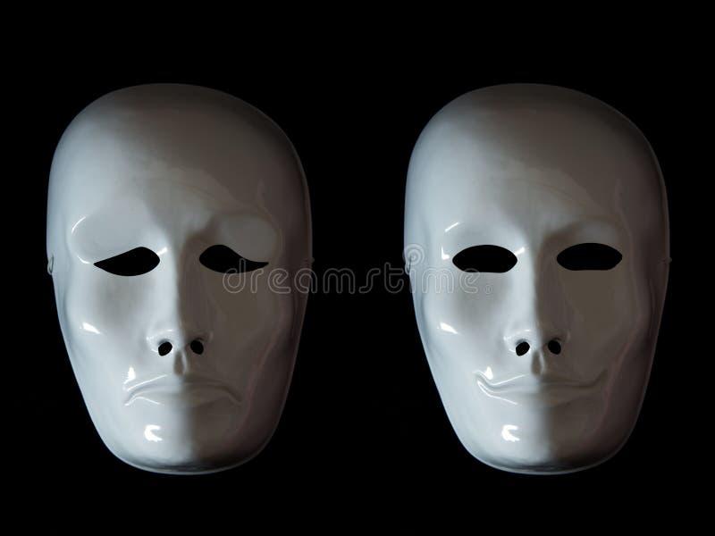 Désordre bipolaire de syndrome expliqué avec des masques de théâtre photos libres de droits