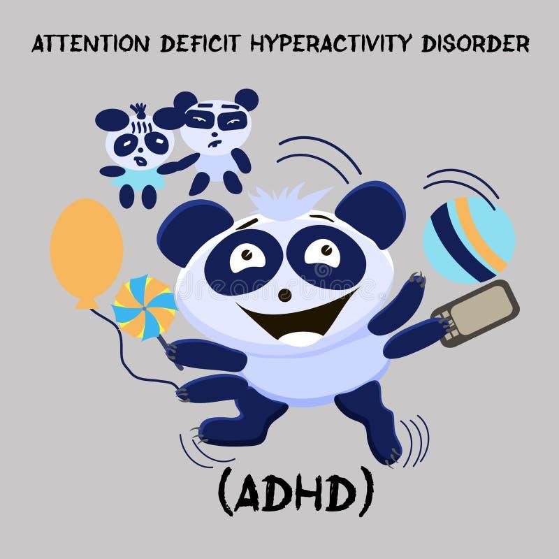Désordre d'hyperactivité de déficit d'attention Problème de santé mentale illustration stock