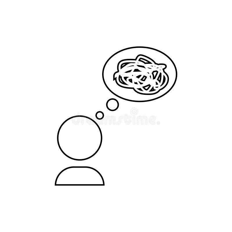 Désordre dans l'icône de pensées Élément de chaos pour le concept et l'icône mobiles d'applis de Web Ligne mince icône pour la co illustration stock