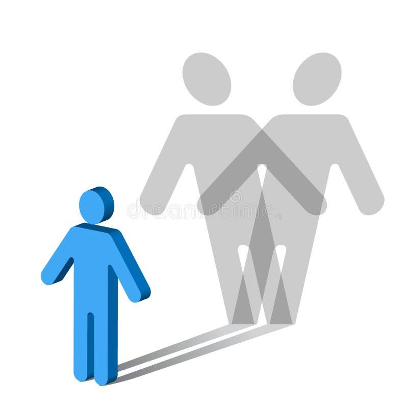 Désordre-mâle Psychologie-multiple de personnalité illustration stock