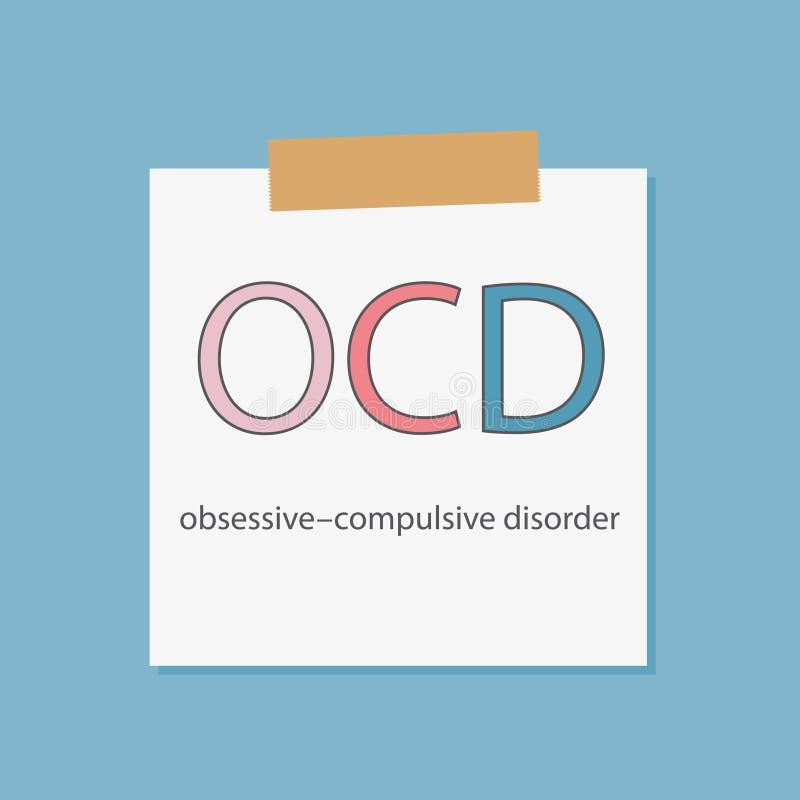 Désordre obsessionnel d'OCD écrit dans un papier de carnet illustration stock