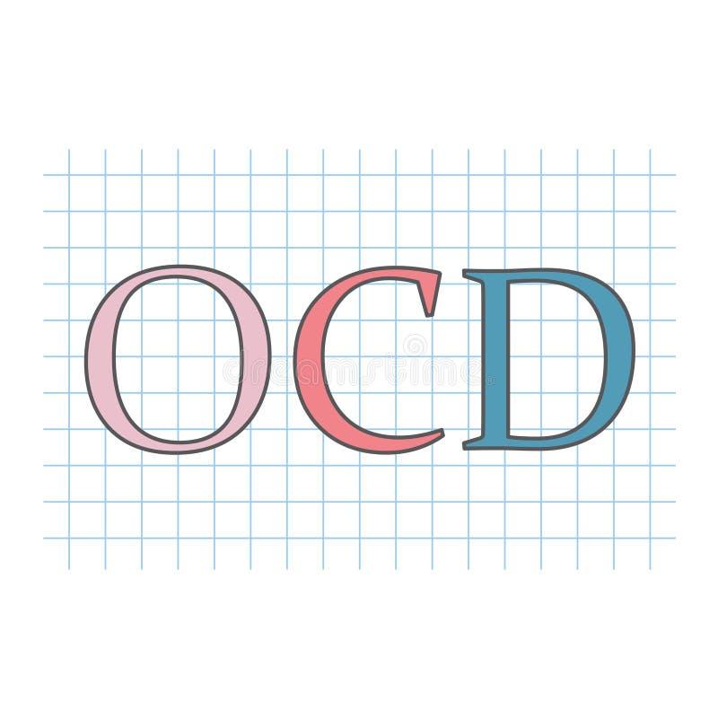 Désordre obsessionnel d'OCD écrit sur la feuille de papier à carreaux illustration de vecteur