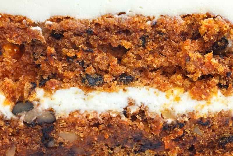Détail abstrait de gâteau à la carotte avec le givrage image stock
