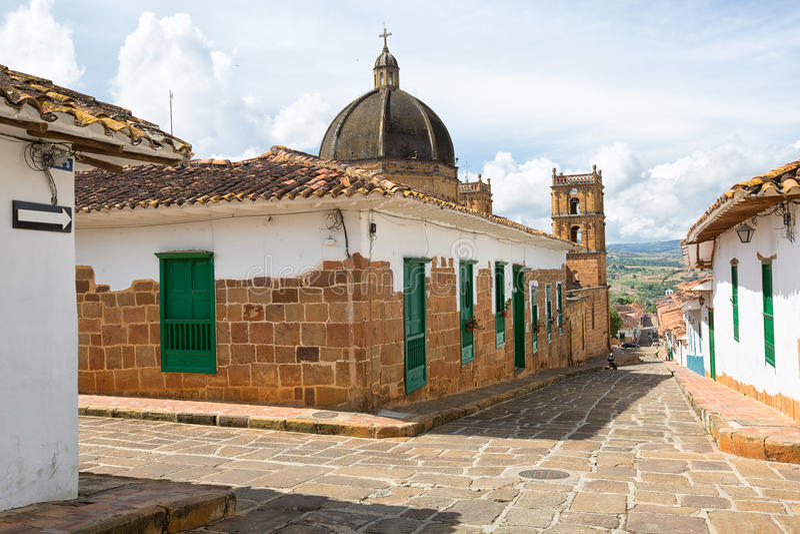 Détail architectural colonial dans Barichara Colombie photos libres de droits