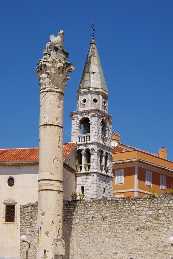 Détail architectural d'un temple. Zadar, Croatie image stock
