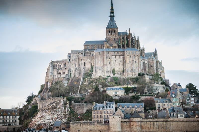 Détail architectural de l'abbaye de Mont Saint-Michel photos stock