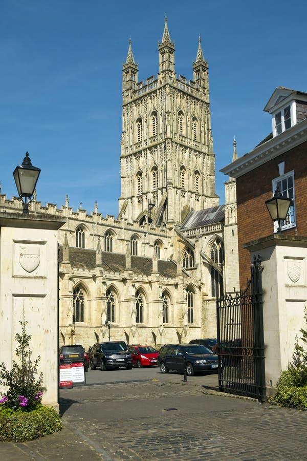 Détail architectural du porche de la cathédrale de Gloucester images libres de droits