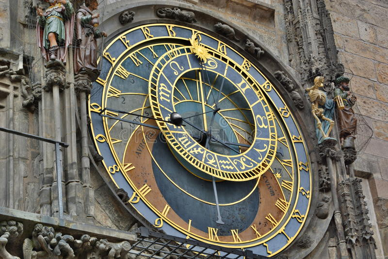 Détail astronomique d'horloge Vieux hôtel de ville prague République Tchèque photo libre de droits