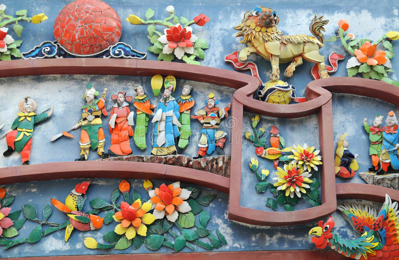 Détail chinois de mur de temple photo stock