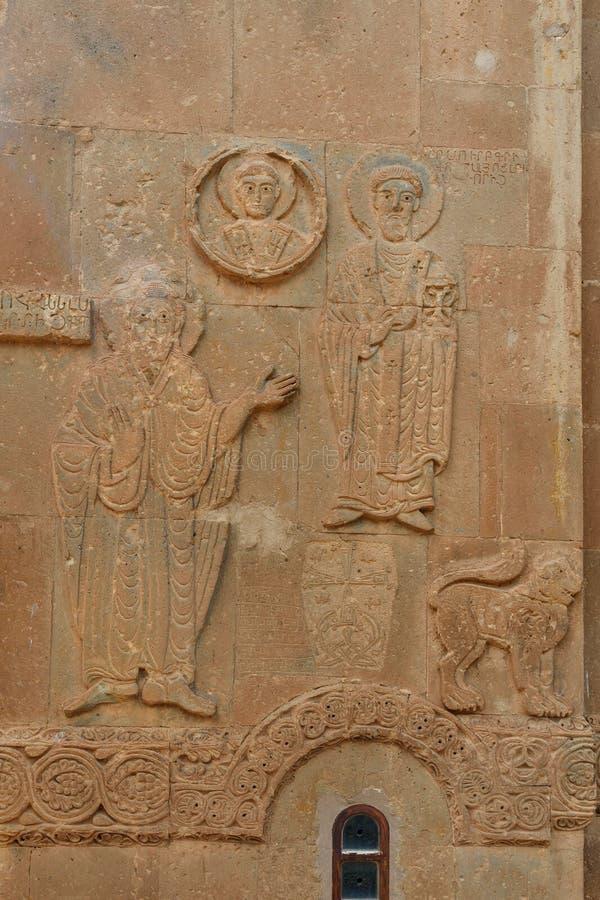 Détail, découpage de pierre d'église arménienne de cathédrale de croix sainte sur l'île d'Akdamar La Turquie photographie stock libre de droits