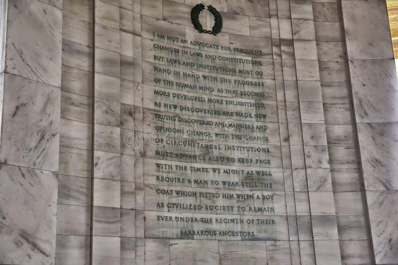 Détail d'écriture chez Jefferson Memorial image libre de droits