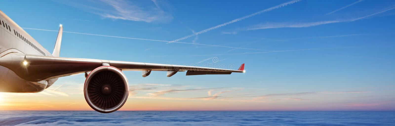 Détail d'aile du vol commercial d'avion de ligne à réaction d'avion au-dessus du clou image stock