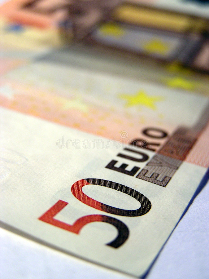 Détail d'un billet de banque de l'euro 50 photographie stock