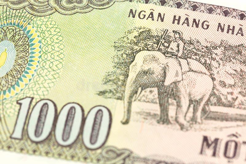 Détail d'un inverse vietnamien de billet de banque du coup 1000 image stock