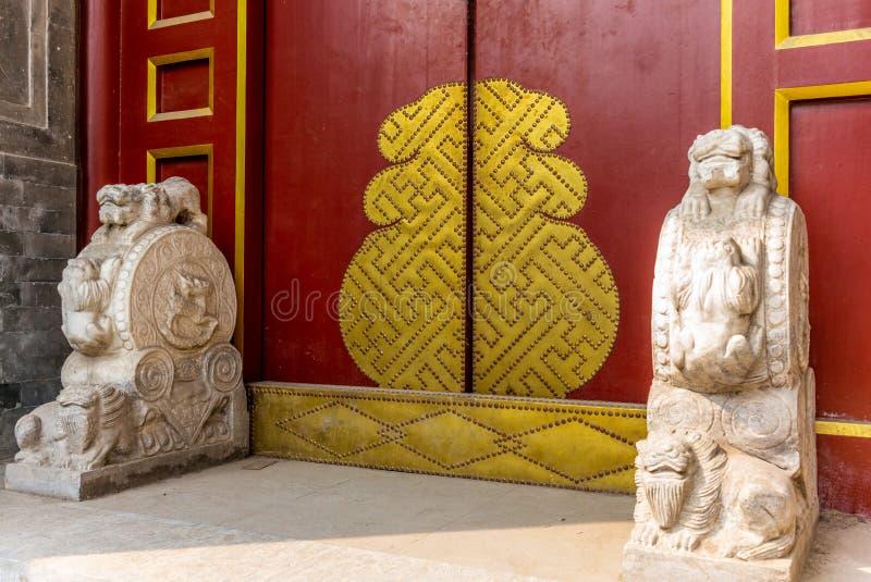 Détail d'une entrée de maison dans Pékin traditionnel Hutong dans le ch image stock