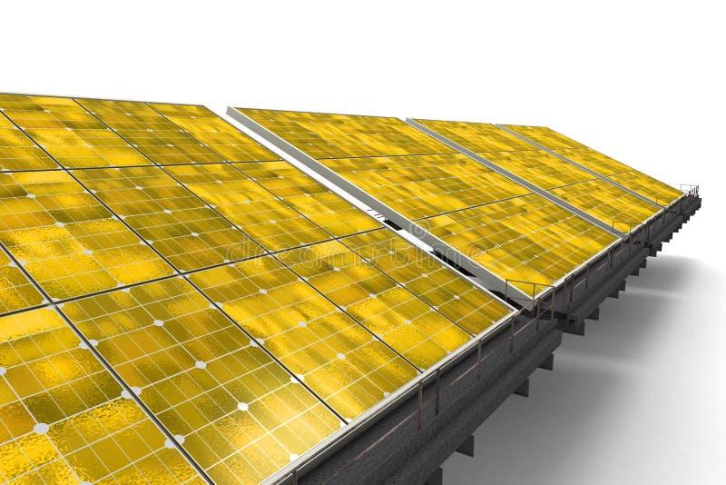 Détail d'une ligne des panneaux solaires jaunes illustration libre de droits