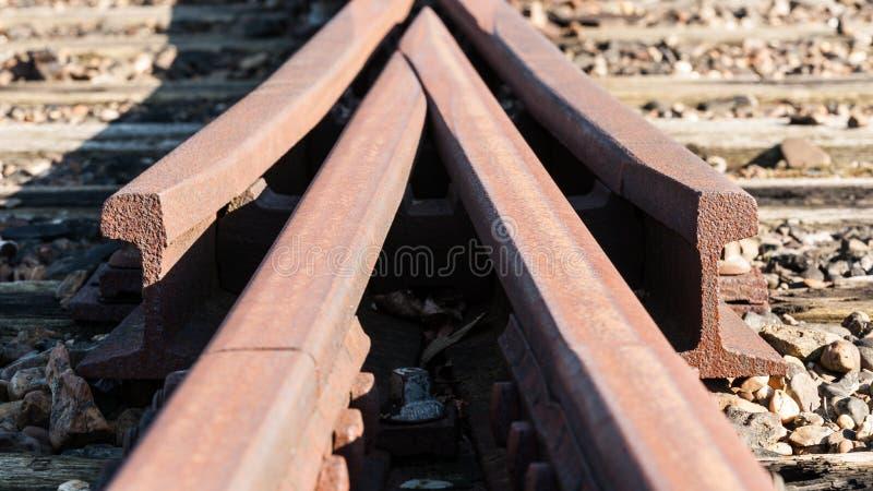 Détail d'une vieille voie ferroviaire de swith image stock