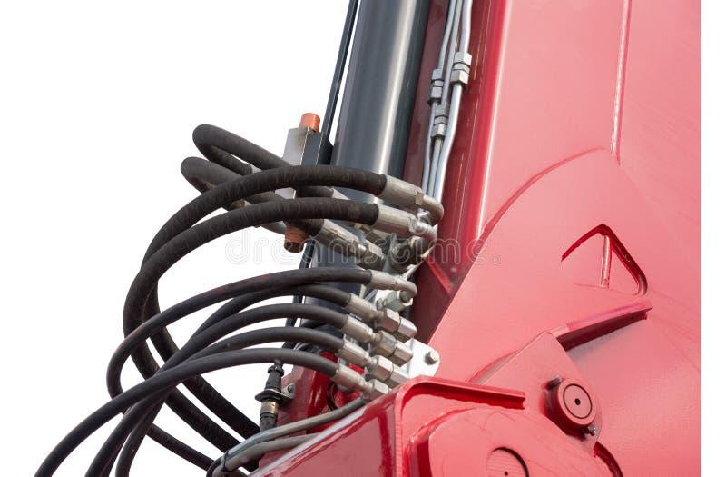 Détail de bras hydraulique d'excavatrice de piston de bouteur photos stock