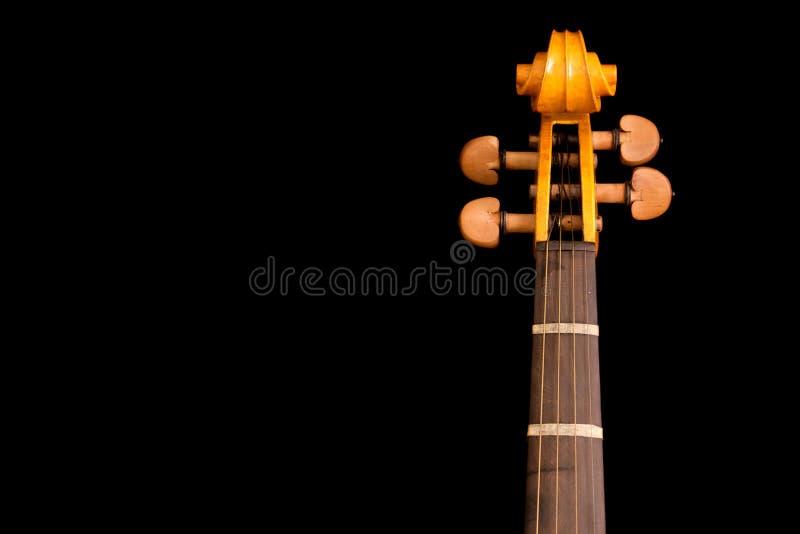 Détail de cou et défilement de violon image libre de droits