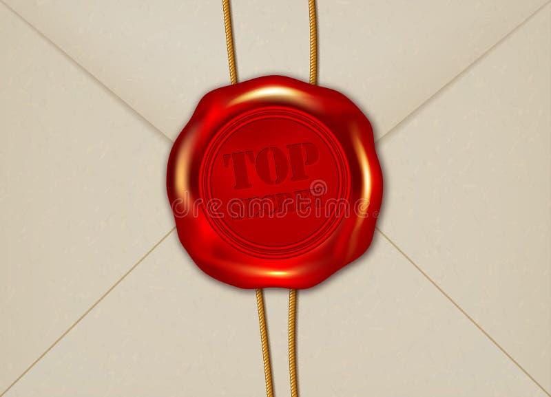 Détail de l'enveloppe de papier avec le joint EXTRÊMEMENT SECRET de cire illustration stock