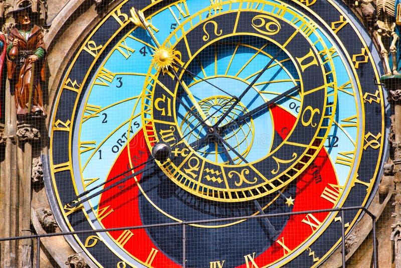 Détail de l'horloge astronomique sur l'ancienne place de Prague images libres de droits