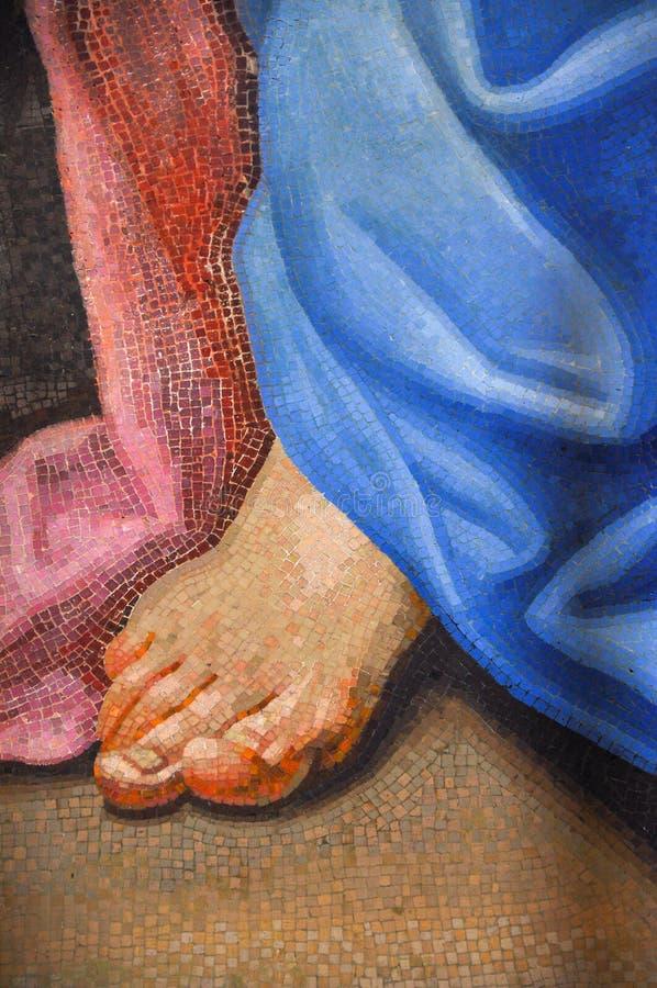 Détail de mosaïque représentant un pied image libre de droits