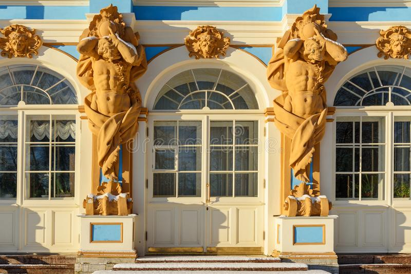 Détail de palais de Catherine dans Tsarskoe Selo pushkin St Petersburg Russie image stock