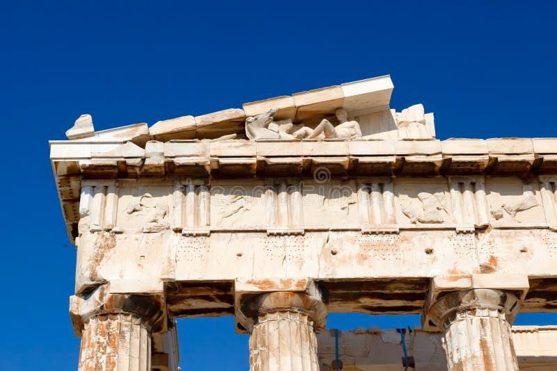 Détail de parthenon dans l'Acropole image stock