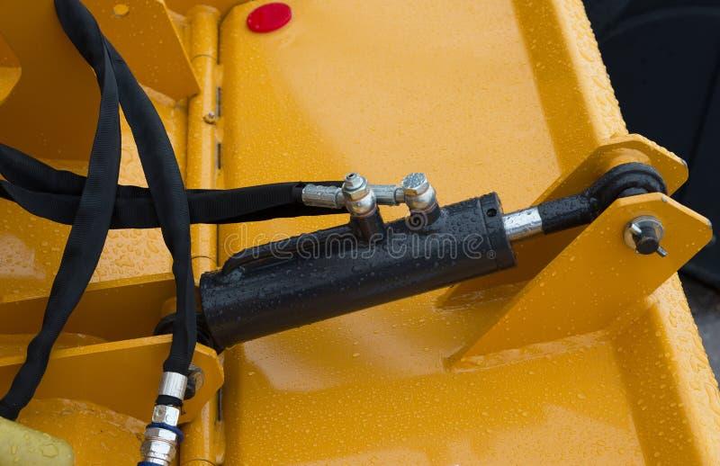 Détail de piston hydraulique de bouteur photo libre de droits