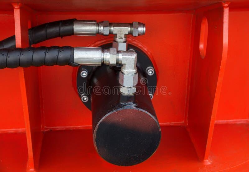 Détail de piston hydraulique de bouteur photos libres de droits