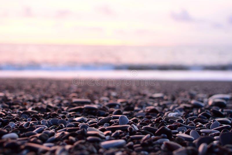 Détail de plage de galets Cavi di Lavagna Gouf de Tigullio Ligurie, Italie photos stock