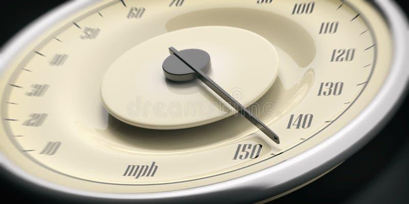 Détail de plan rapproché de tachymètre de mesure de voiture de vintage, fond noir illustration 3D photographie stock