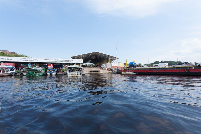Détail de port de Manaus Confluent brésilien de rivières photo libre de droits