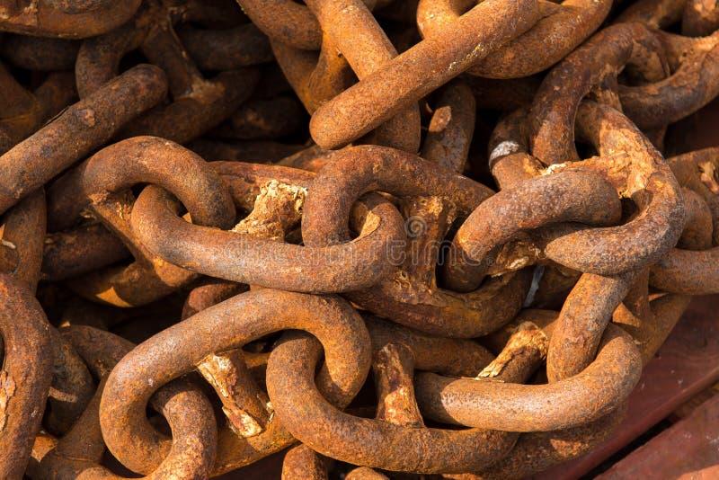 Détail de port massif de Rusty Chain In A photos stock