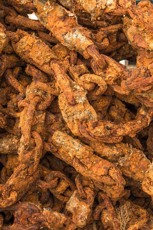 Détail de port massif de Rusty Chain In A photographie stock libre de droits